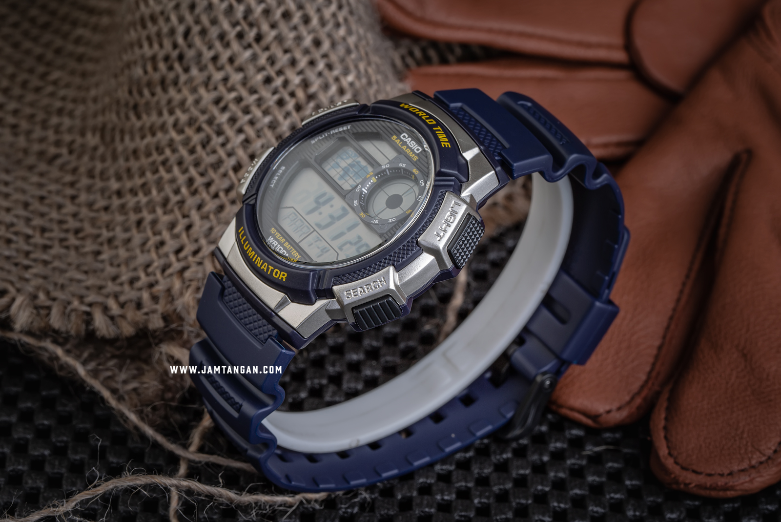 Casio AE-1000W-2AVDF - 10 Year Battery - Water Resistance 100M Blue Resin Band Machtwatch