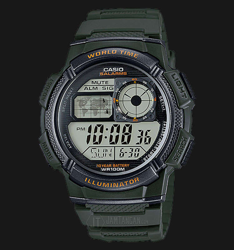 Casio AE-1000W-3AVDF - 10 Year Battery - Water Resistance 100M Green Resin Band Machtwatch