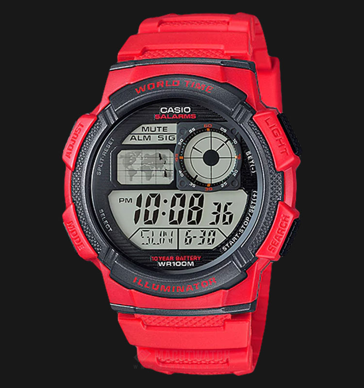 Casio AE-1000W-4AVDF - 10 Year Battery - Water Resistance 100M Red Resin Band Machtwatch
