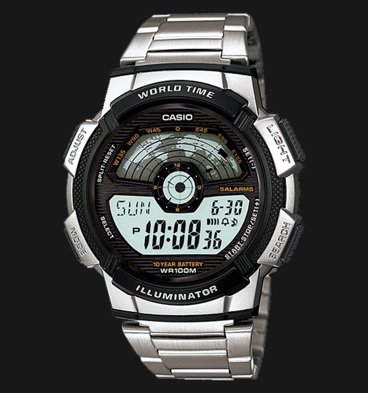 Casio AE-1100WD-1AVDF Digital Dial Stainless Steel Strap Machtwatch