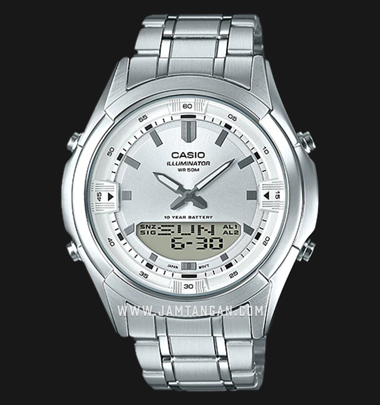 Casio AMW-840D-7AVDF Digital Analog Dial Stainless Steel Strap Machtwatch