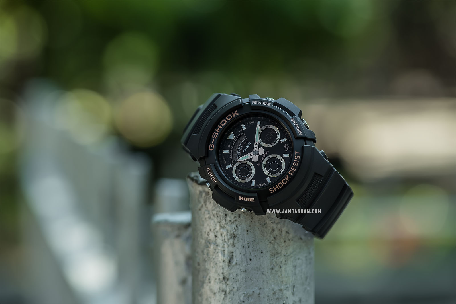 Casio G-Shock Special Color Models AW-591GBX-1A4DR Black Digital Analog Dial Black Resin Band Machtwatch