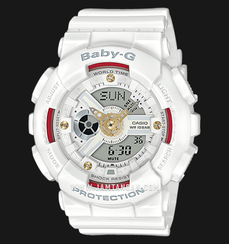 Casio Baby-G BA-110DDR-7ADR Special Color Models Digital Analog Dial White Resin Strap Machtwatch