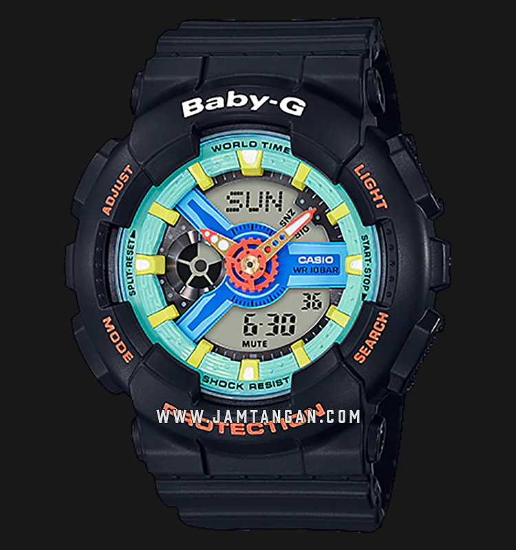 Casio Baby-G BA-110NR-1ADR Water Resistant 100M Digital Analog Dial Black Resin Band Machtwatch