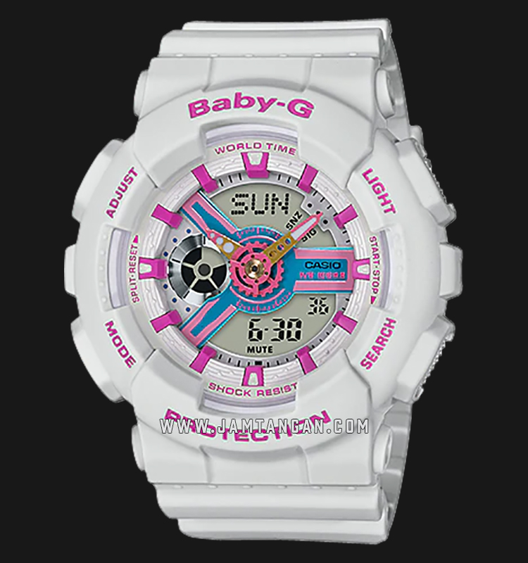 Casio Baby-G BA-110NR-8ADR Water Resistant 100M Digital Analog Dial White Resin Band Machtwatch