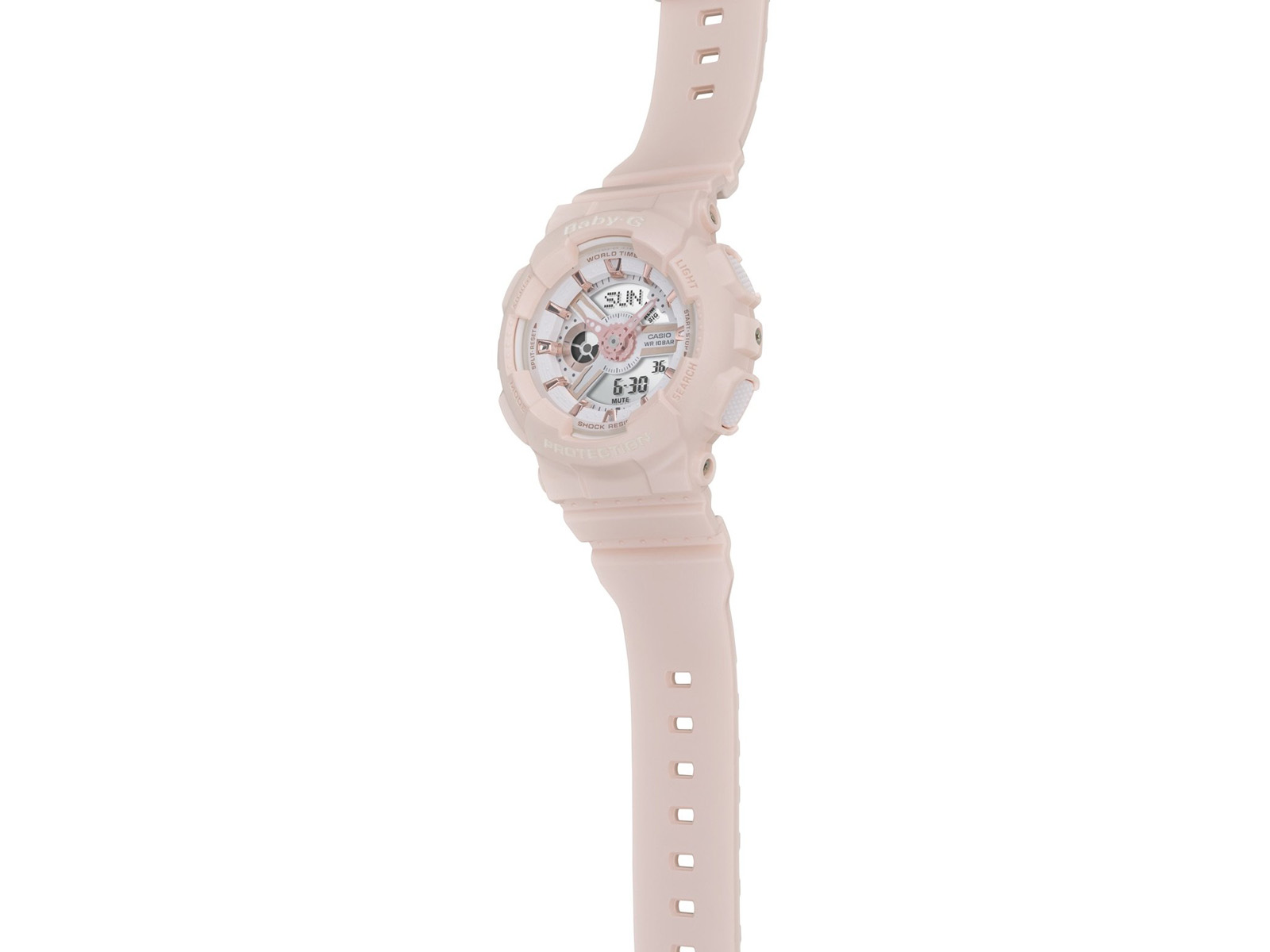 Casio Baby-G BA-110RG-4ADR Ladies Digital Analog Dial Beige Resin Strap Machtwatch