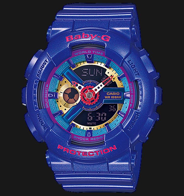 Casio Baby-G BA-112-2ADR Multi Color Digital Analog Dial Blue Resin Strap Machtwatch