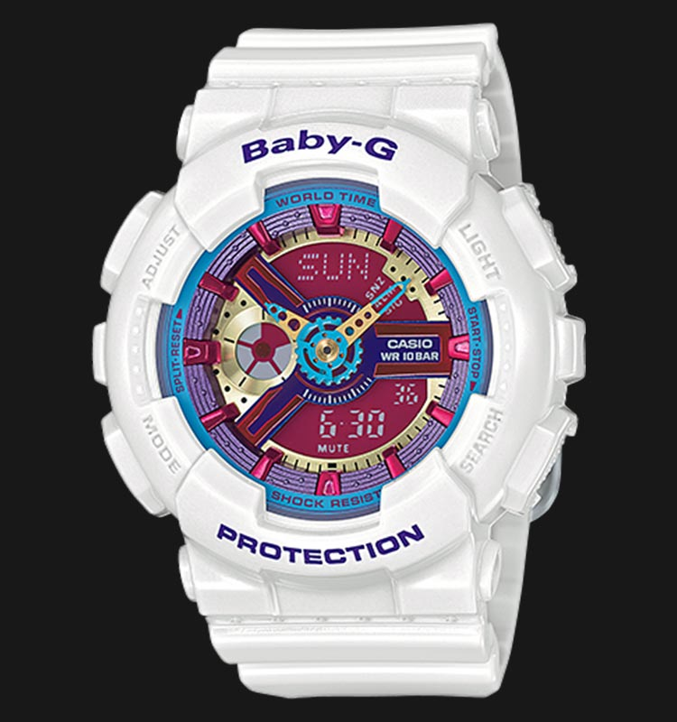 Casio Baby-G BA-112-7ADR Ladies Full Colour White Resin Strap Machtwatch