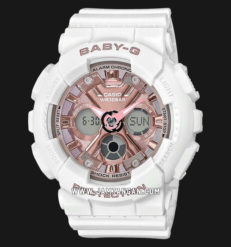 Casio Baby-G BA-130-7A1DR Digital Analog Dial White Resin Strap Machtwatch