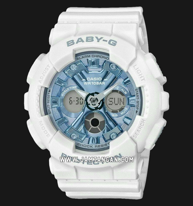 Casio Baby-G BA-130-7A2DR Digital Analog Dial White Resin Strap Machtwatch