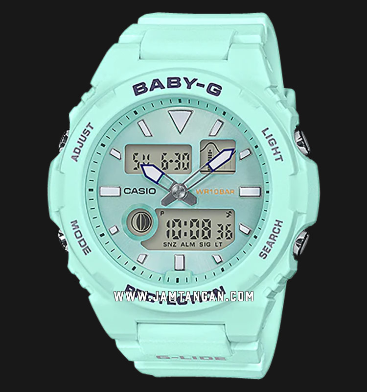 Casio Baby-G G-Lide BAX-100-3ADR Digital Analog Dial Green Resin Strap Machtwatch