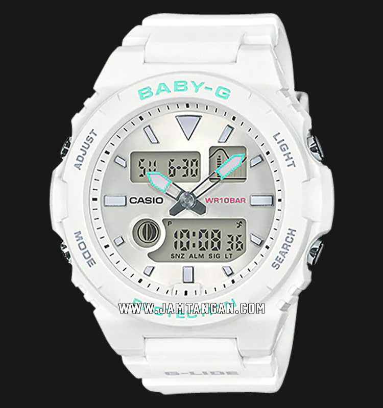 Casio Baby-G G-Lide BAX-100-7ADR Digital Analog Dial White Resin Strap Machtwatch