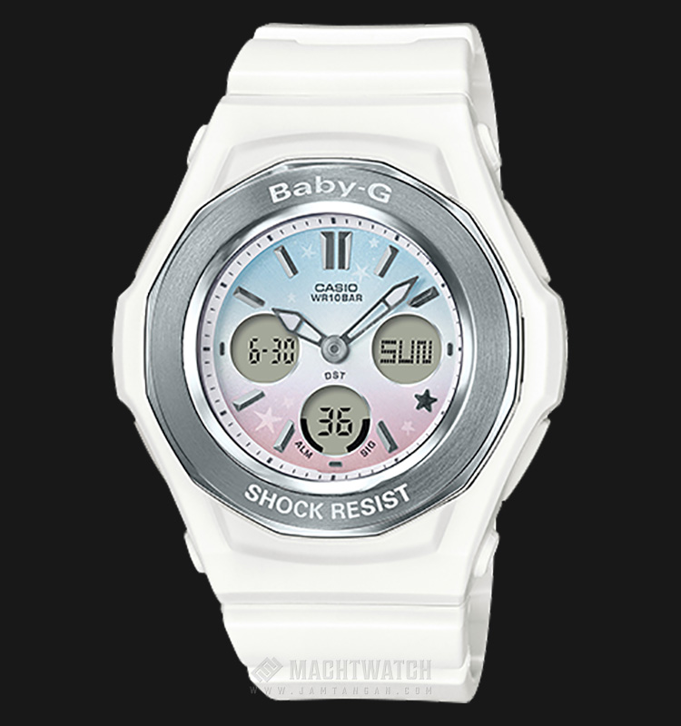 Casio Baby-G BGA-100ST-7ADR Digital Analog Gradation Color Dial White Resin Strap Machtwatch