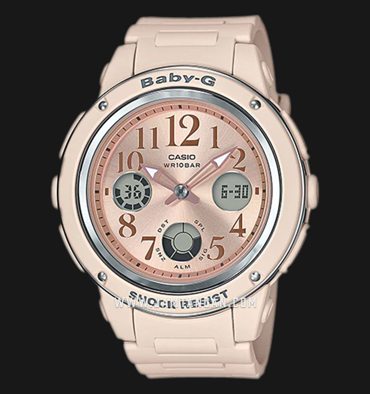 Casio Baby-G BGA-150CP-4BDR Special Color Models Biege Dial Pink Resin Band Machtwatch