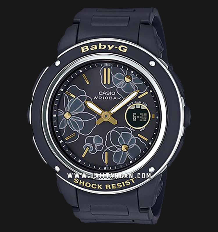 Casio Baby-G BGA-150FL-1ADR Black Floral Patterns Dial Black Resin Band Machtwatch