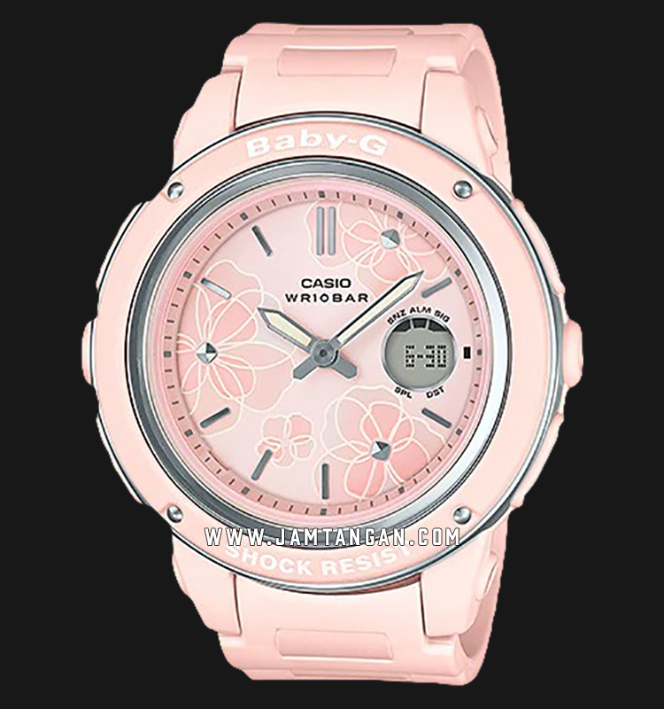 Casio Baby-G BGA-150FL-4ADR Pink Floral Patterns Dial Pink Resin Band Machtwatch