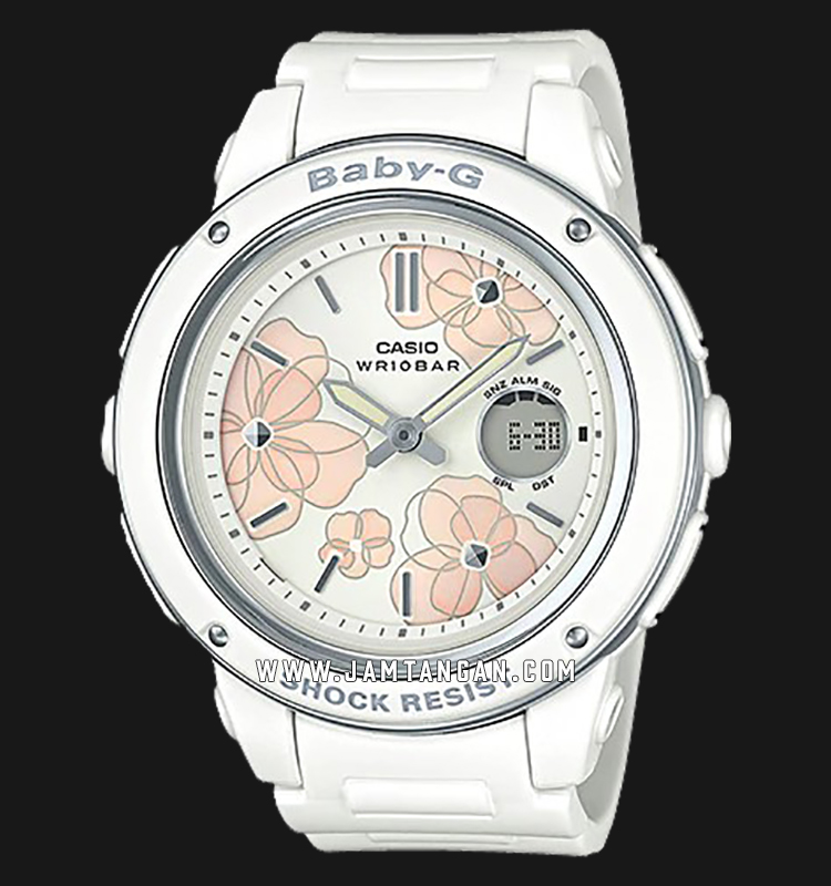 Casio Baby-G BGA-150FL-7ADR White Floral Patterns Dial White Resin Band Machtwatch