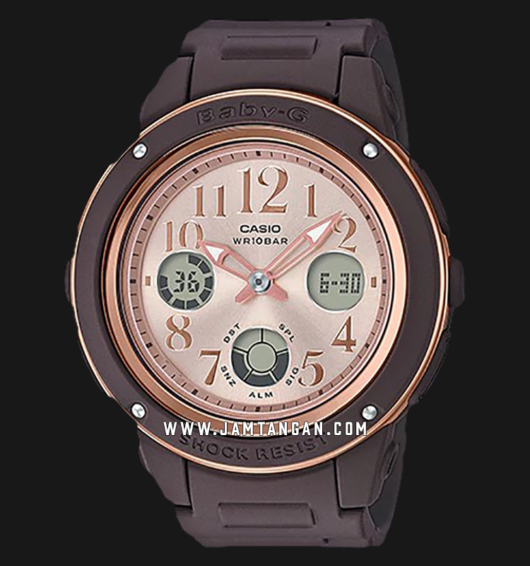 Casio Baby-G BGA-150PG-5B1DR Rose Gold Dial Brown Resin Band Machtwatch