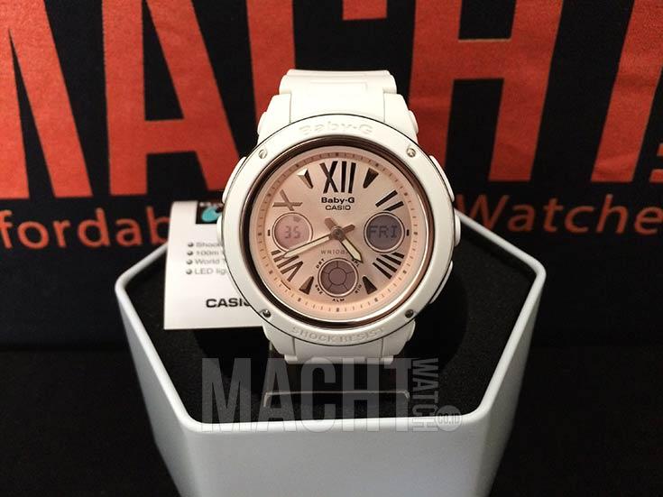 Casio Baby-G BGA-152-7B2DR Pink Digital Analog Dial White Resin Strap Machtwatch