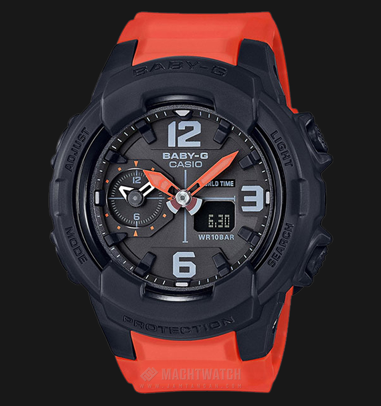 Casio Baby-G BGA-230-4BDR Standard Analog-Digital Orange Resin Band Machtwatch