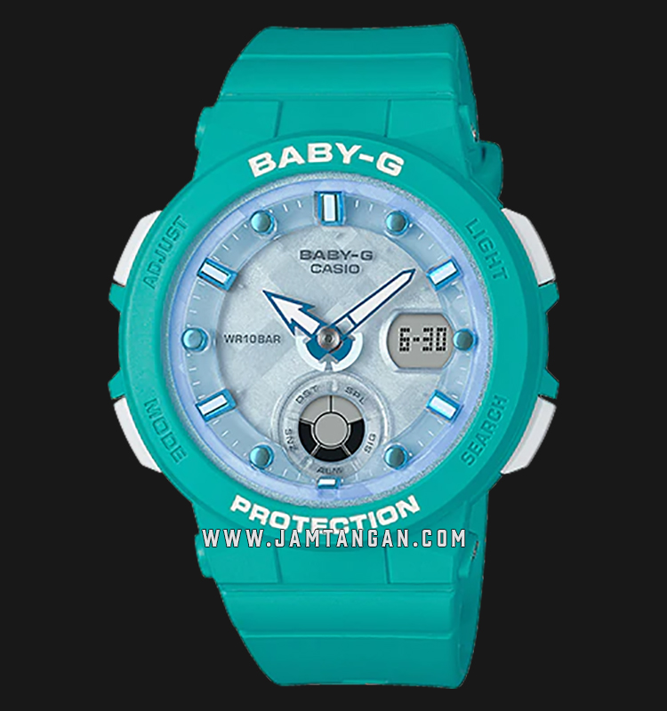 Casio Baby-G BGA-250-2ADR Water Resistant 100M Digital Analog Dial Green Resin Band Machtwatch