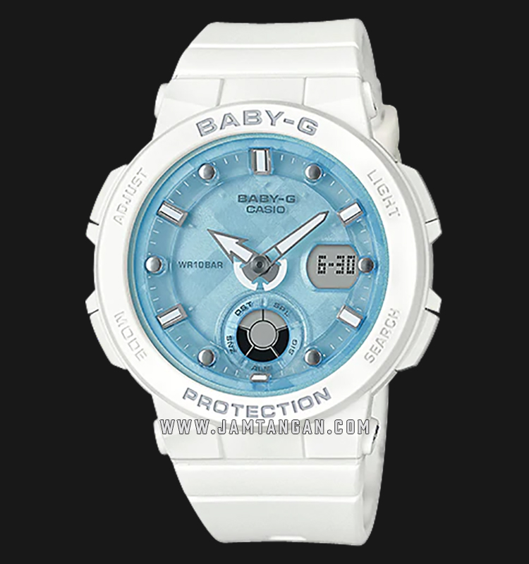 Casio Baby-G BGA-250-7A1DR Water Resistant 100M Digital Analog Dial White Resin Band Machtwatch