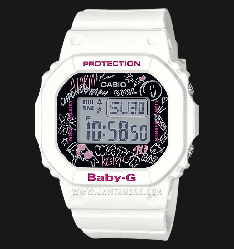 Casio Baby-G BGD-560SK-7DR Water Resistant 200M Black Digital Dial White Resin Band Machtwatch