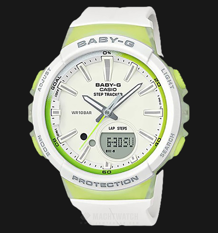 Casio Baby-G BGS-100-7A2DR For Running Series White-Green Resin Band Machtwatch