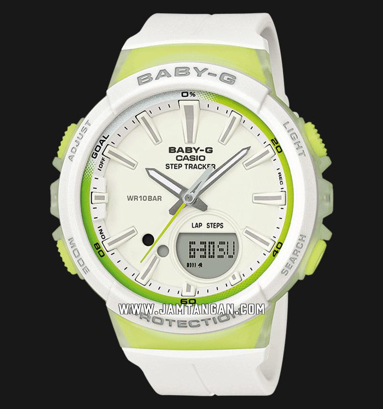 Casio Baby-G BGS-100-7A2ER Step Tracker Digital Analog Dial White Resin Strap Machtwatch