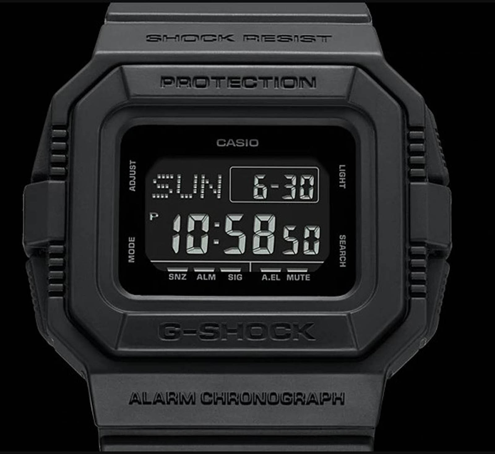 Casio G-Shock DW-D5500BB-1DR Clock Alarm Chronograph Black Resin Band Machtwatch