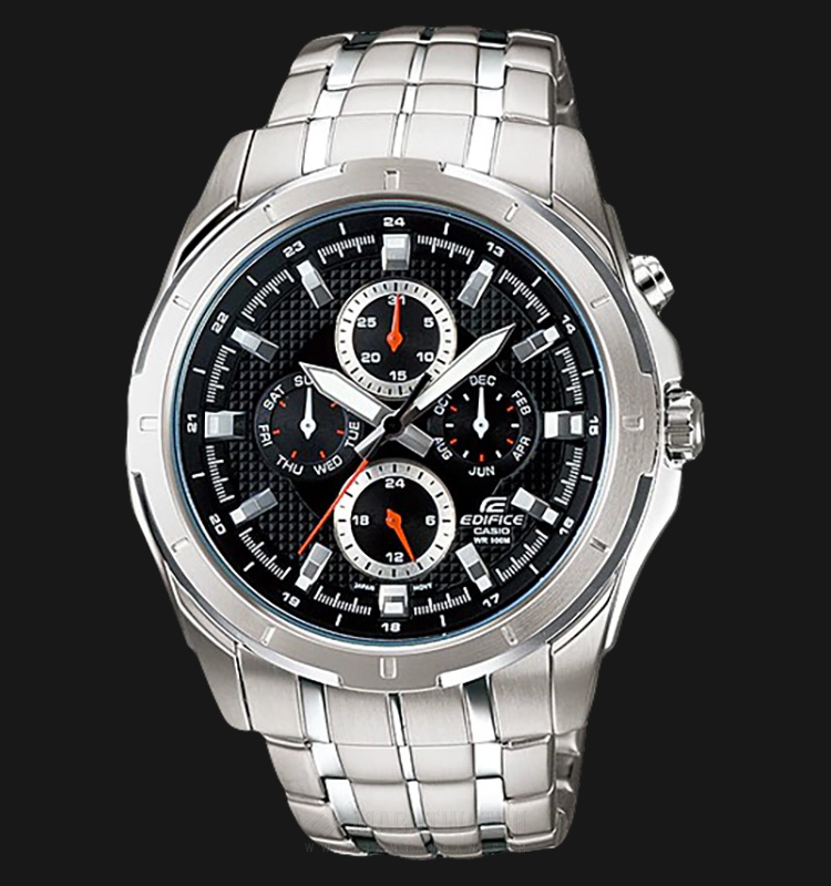 Casio Edifice EF-328D-1AVUDF Water Resistant 100M Black Pattern Dial Stainless Steel Machtwatch