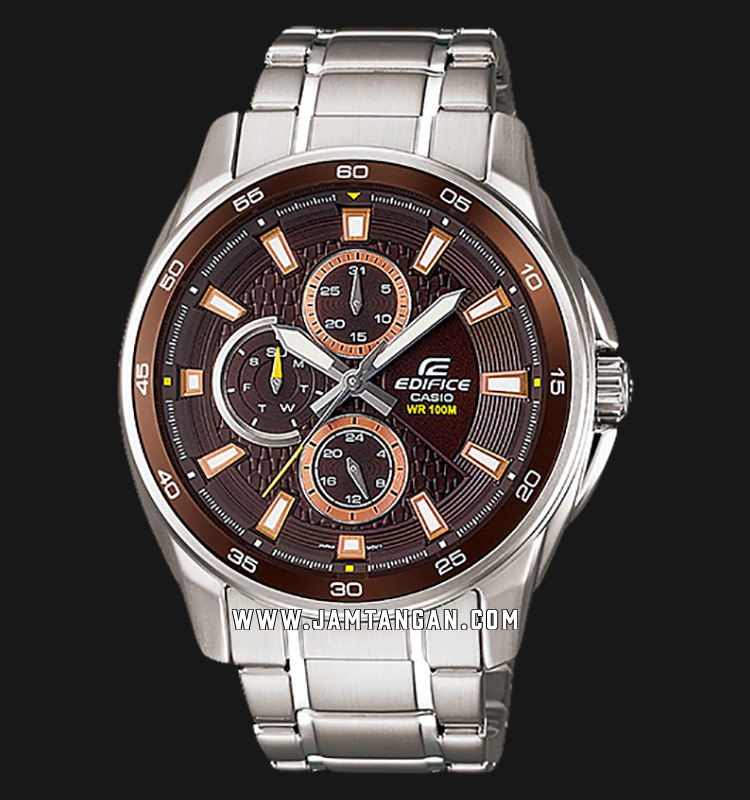 Casio Edifice EF-334D-5AVUDF Men Analog Brown Dial Stainless Steel Strap Machtwatch