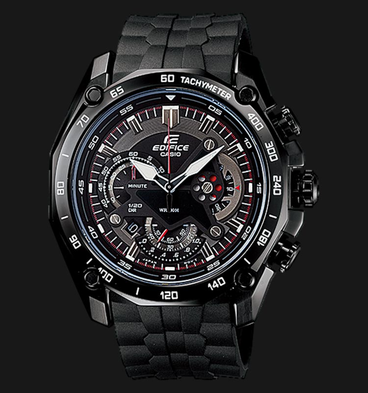 Casio Edifice EF-550PB-1AVDF Chronograph Men Black Dial Black Resin Strap Machtwatch