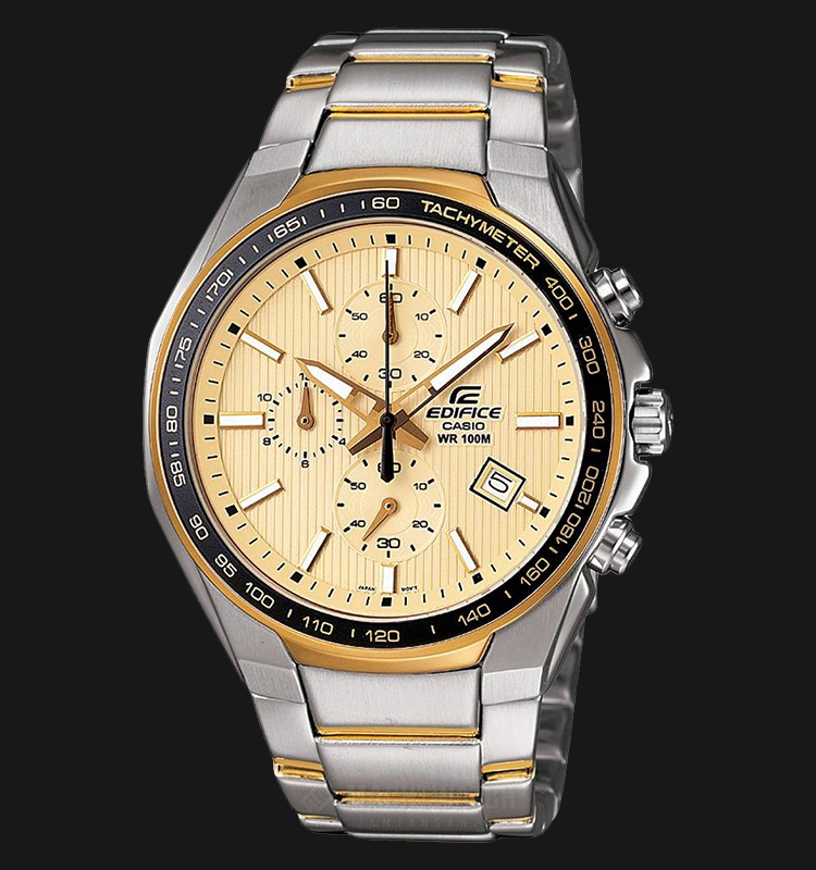 Casio Edifice CHRONOGRAPH EF-567SG-9AVDF Yellow Dial Dual Tone Stainless Steel Watch Machtwatch