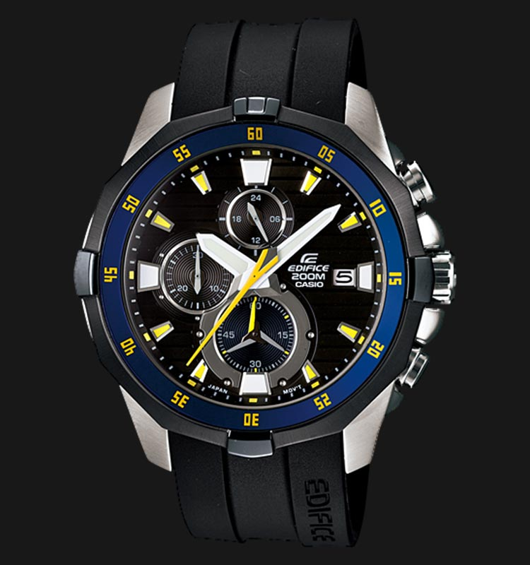 Casio Edifice EFM-502-1AVDF Chronograph Men Black Dial Black Resin Strap Machtwatch