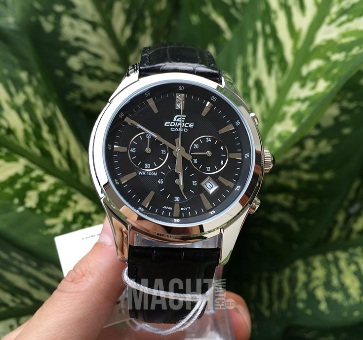 Casio Edifice EFR-517L-1AVDR Chronograph Black Dial Black Leather Strap Machtwatch
