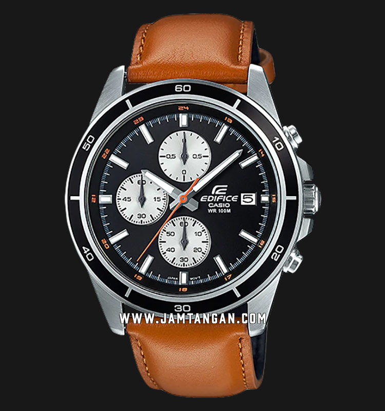Casio Edifice EFR-526L-1BVUDF Chronograph Men Black Dial Brown Leather Strap Machtwatch