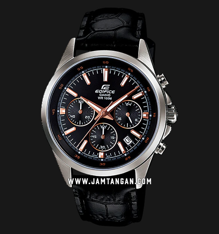 Casio Edifice EFR-527L-1AVUDF Chronograph Men Black Dial Black Leather Strap Machtwatch