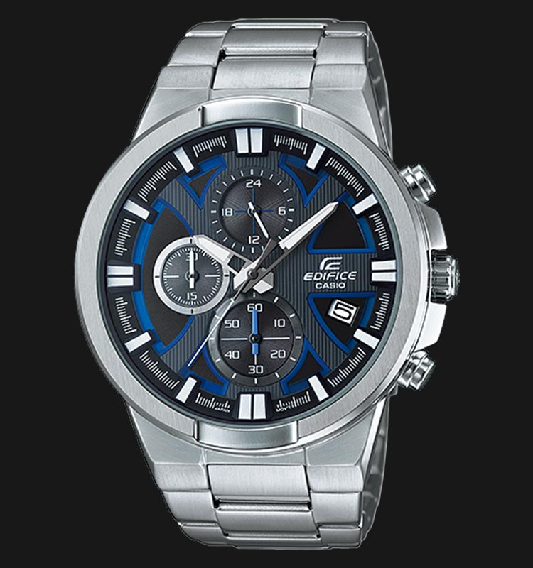 Casio Edifice EFR-544D-1A2VUDF Chronograph Men Black Pattern Dial Stainless Steel Strap Machtwatch