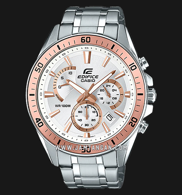 Casio Edifice EFR-552D-7AVUDF Chronograph Men Silver Dial Stainless Steel Strap Machtwatch