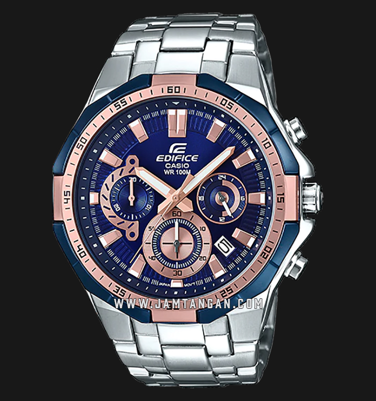 Casio Edifice EFR-554D-2AVUDF Chronograph Men Blue Dial Stainless Steel Strap Machtwatch