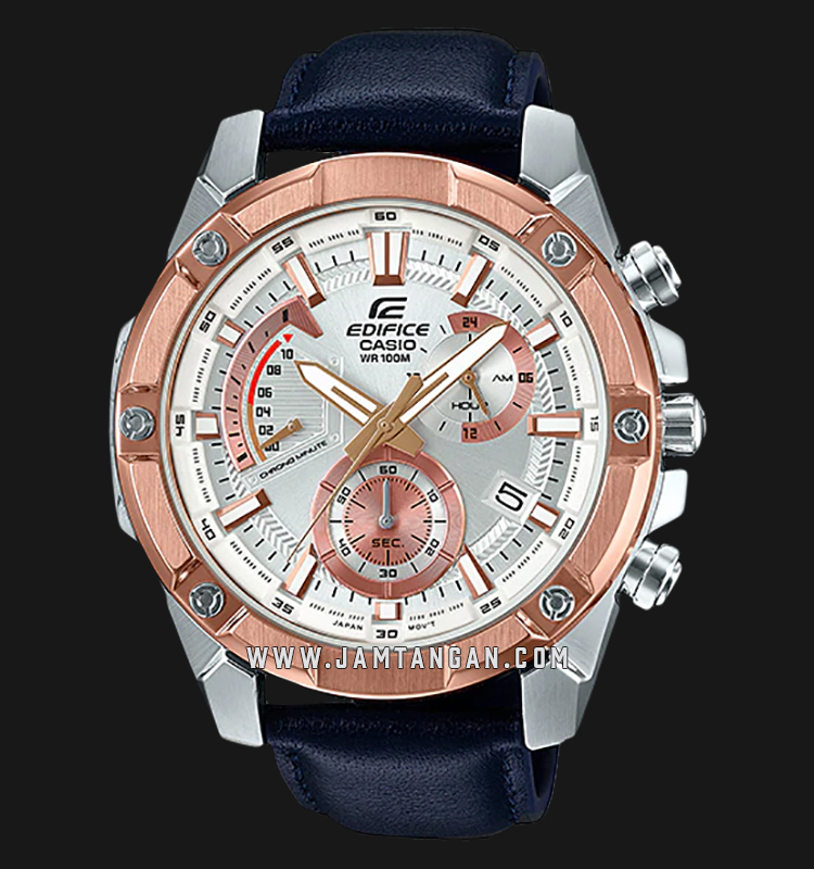 Casio Edifice EFR-559GL-7AVUDF Chronograph Men Silver Dial Navy Blue Leather Strap Machtwatch