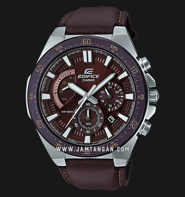 Casio Edifice EFR-563BL-5AVUDF Chronograph Men Brown Dial Brown Leather Strap Machtwatch