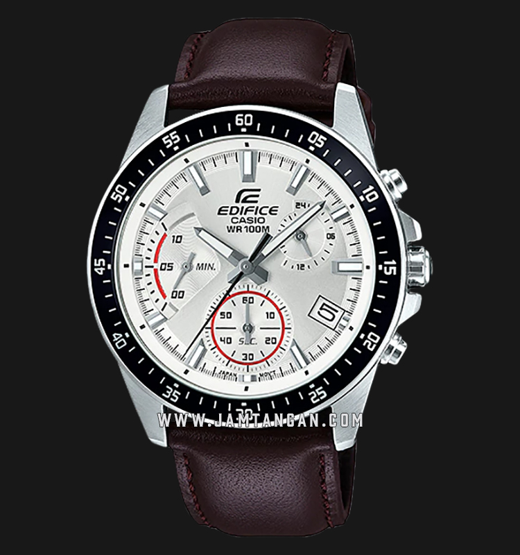 Casio Edifice EFV-540L-7AVUDF Chronograph Men Silver Dial Brown Leather Strap Machtwatch