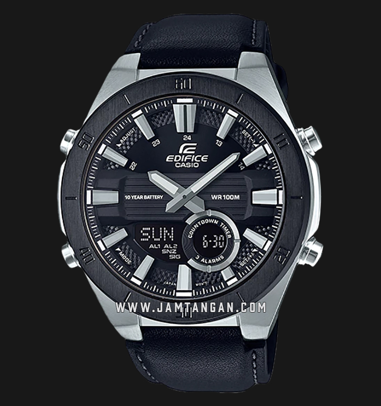 Casio Edifice ERA-110BL-1AVDF Men Digital Analog Dial Black Leather Strap Machtwatch