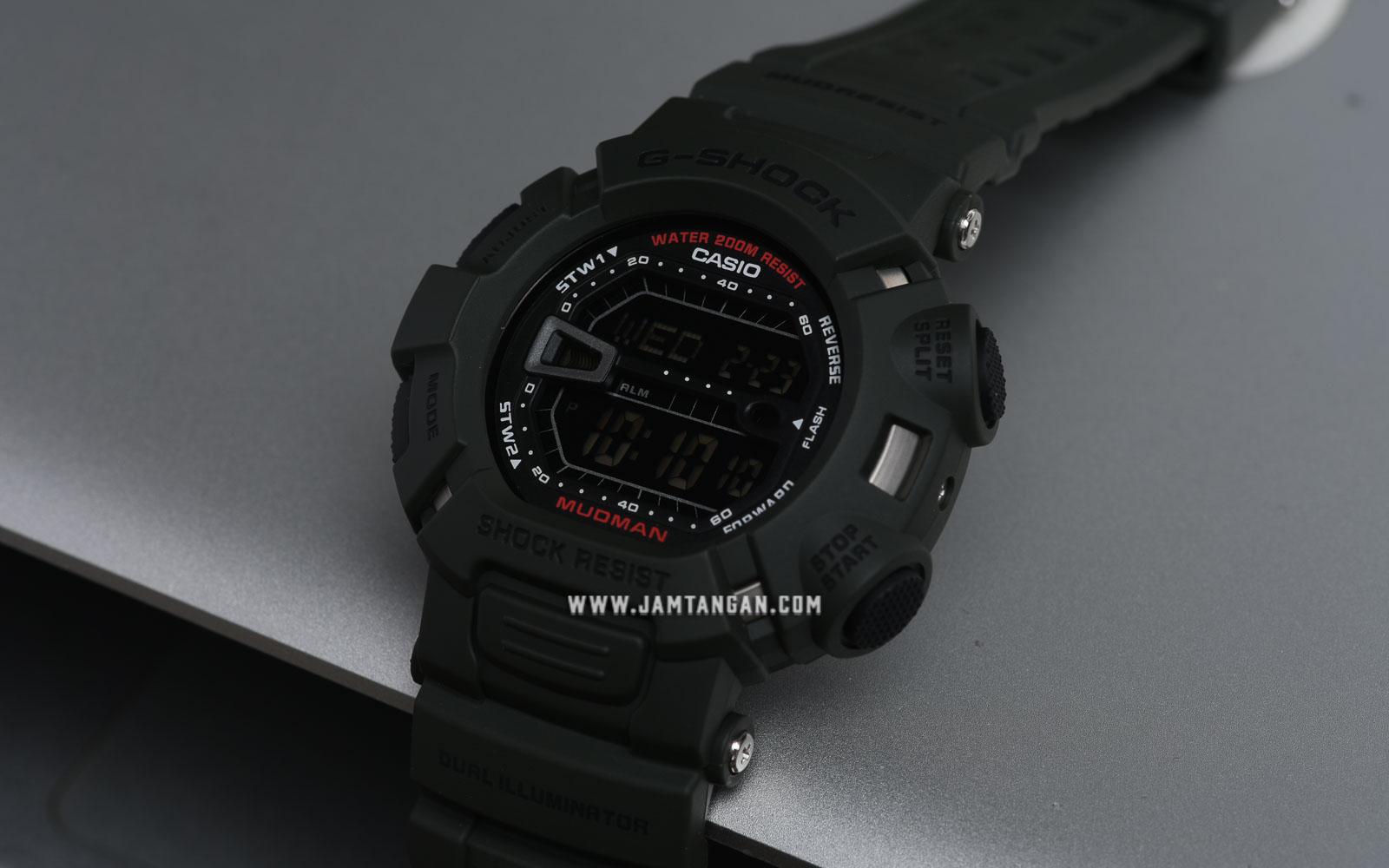 Casio G-Shock G-9000-3VDR Mudman Digital Green Resin Band Water Resistant 200M Machtwatch
