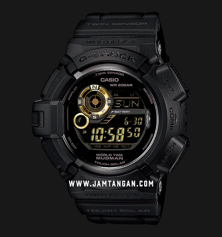Casio G-Shock G-9300GB-1DR Black & Gold Mudman Tough Solar Digital Compass Resin Band Machtwatch