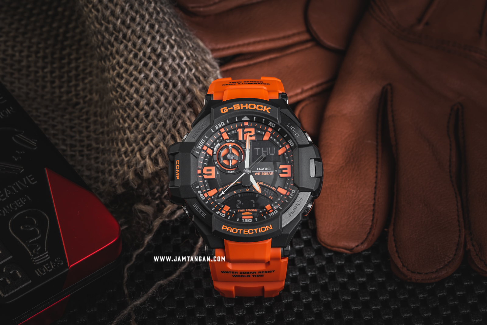 Casio G-Shock Gravitymaster GA-1000-4ADR G-Aviation Twin Sensor Digital Compass - Orange Resin Band Machtwatch