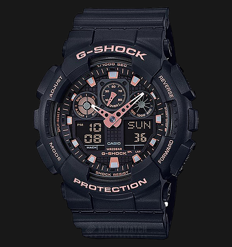 Casio G-Shock Special Color Models GA-100GBX-1A4DR Black Digital Analog Dial Black Resin Band Machtwatch