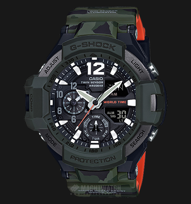 Casio Gravitymaster GA-1100SC-3ADR Black Dial Camouflage Color Resin Band Watch Machtwatch